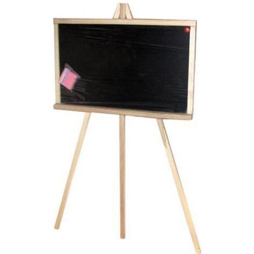 Дошка для малювання-мольберт дерев'яна (дуб) маленька з крейдою та губкою 58х40см