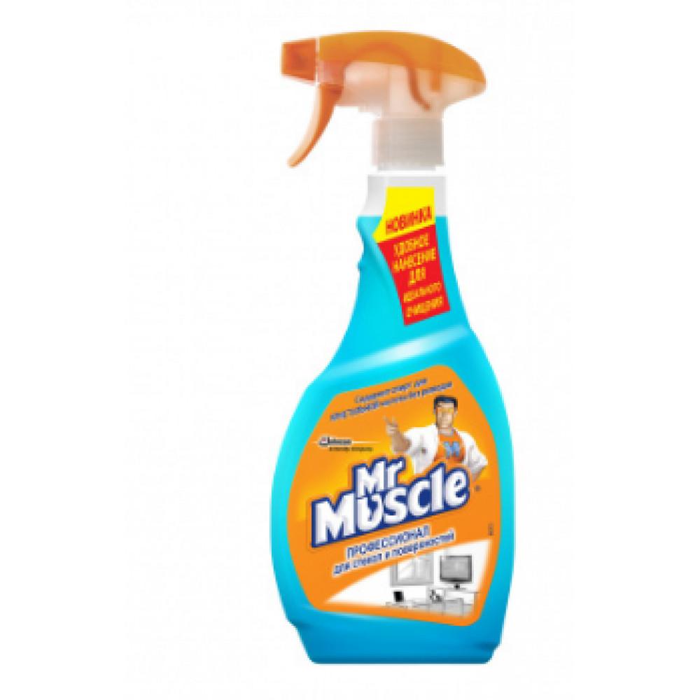 "Средство для мытья стекол "" Мистер Мускул "" 0,5 л (курок) со спиртом (12)"