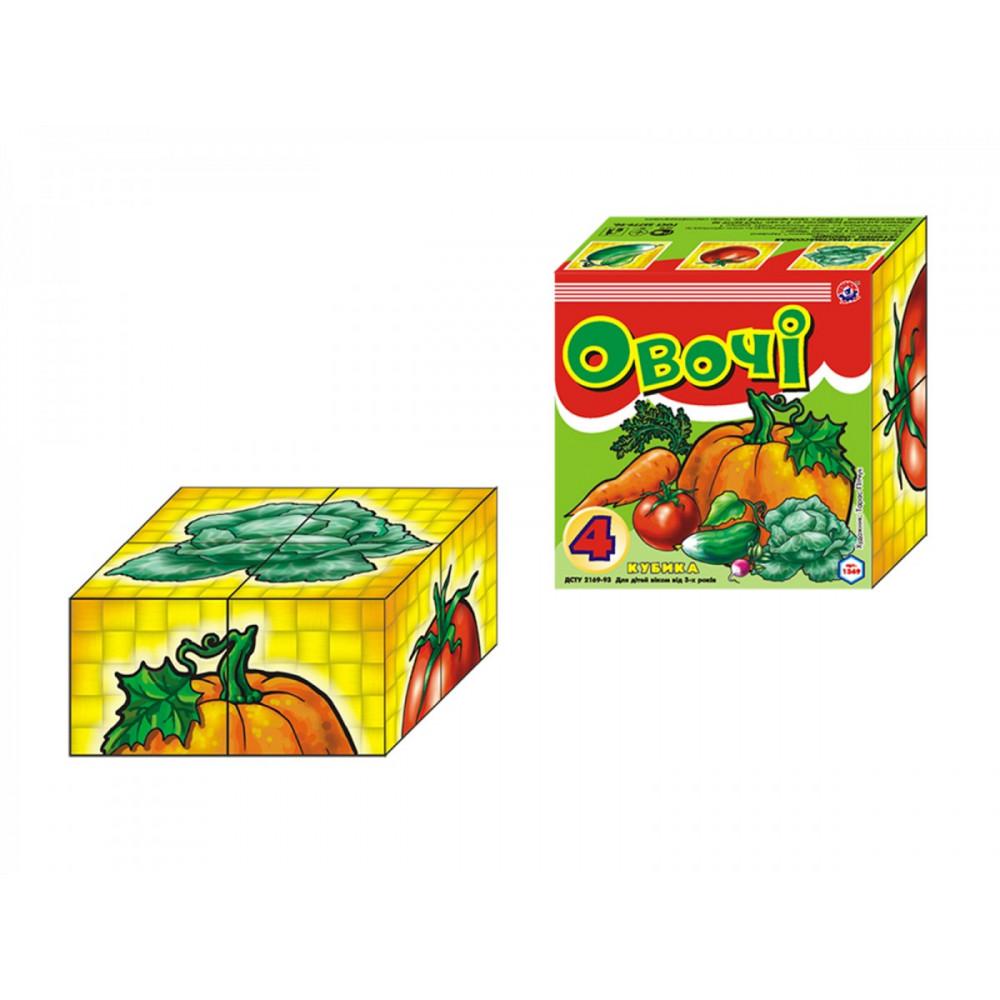 Кубики картонные Овощи Технокомп 1349 4 кубика