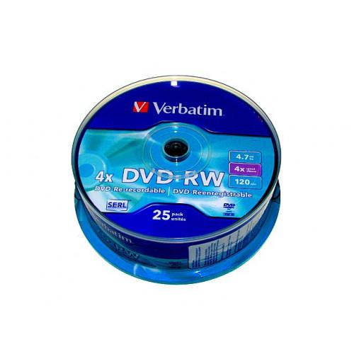 DVD-RW Verbatim 4х4.7Gb/120min штырь (25)