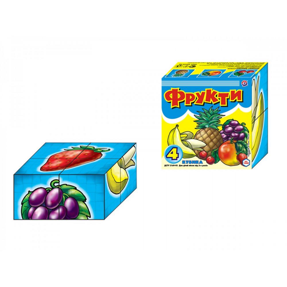 """Кубики картонные """"Фрукты"""" Технокомп 1332 4 кубика"""