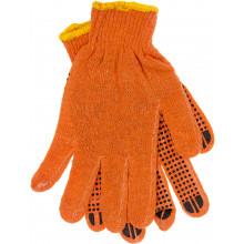Рукавиці трикотажні Seven помаранчеві з чорними крапками (10) (12) (240) (600) №74210/69583