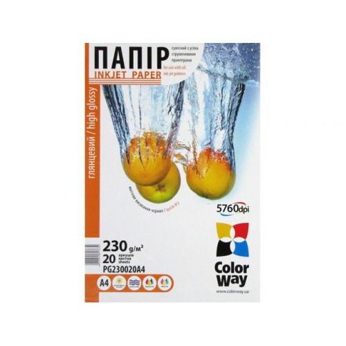 Фотобумага глянцевая CW А4 230г/м2 картонная упаковка (20) №PG230-20/PG230020A4/7634