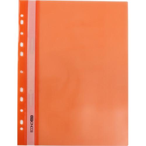 Папка-швидкозшивач Economix А4 з перфорацією прозорий верх глянець помаранчева (10) (300) №E31510-06