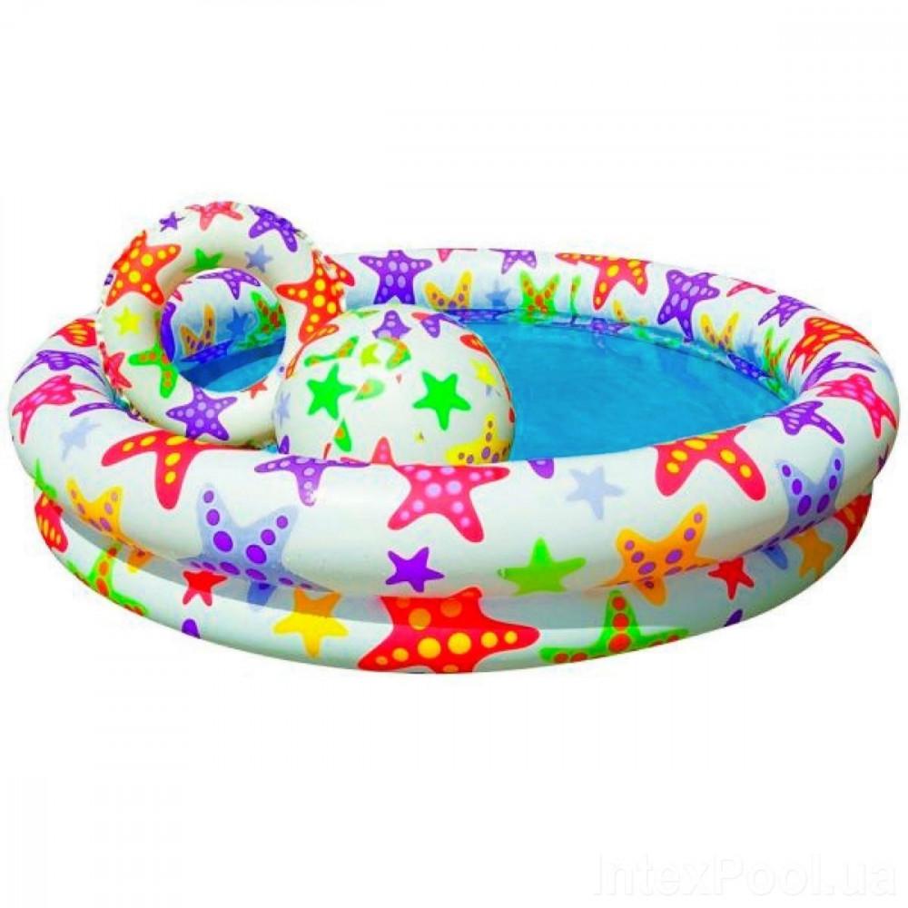 Бассейн 59460 детский круглый 122х25см 2 кольца цветной с набором