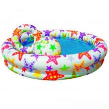Бассейн детский круглый 122х25см 2 кольца цветной с набором (12) №59460