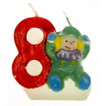 Свічка в торт Цифра-8 Клоуни (12) (600) №HS133