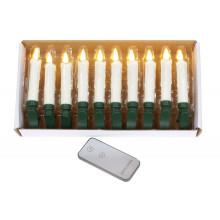 Набір декоративних свічок на батарейці, з пультом, LED світло, 11 см, Bonadi білий (10) №882-111