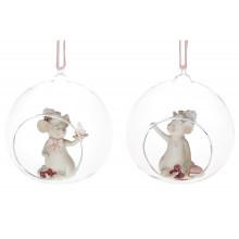"""Декор новорічний """"Мишка"""" в кулі 10см, 2вида №838-192/2141(1)(48)/Bonadi/"""
