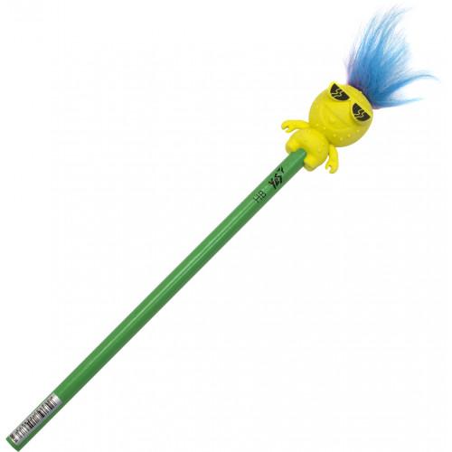 Олівець графітний Yes Hairy Monster круглий з гумкою-топпером (24) 280536