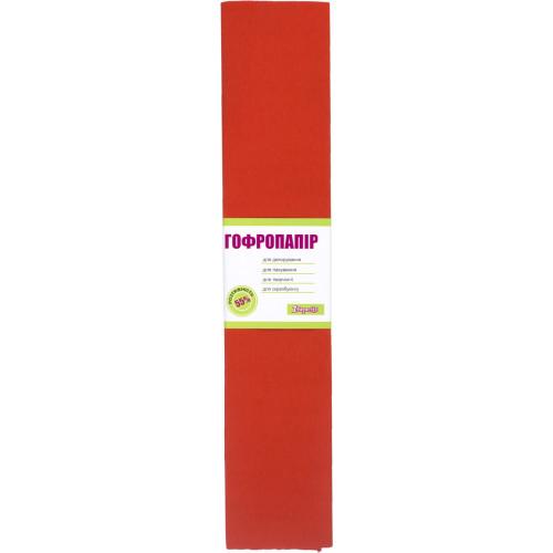 Папір-гофра 5 55% 26,4г/м2 1 Вересня 2мх50см світло-червоний (10) (200) 705393