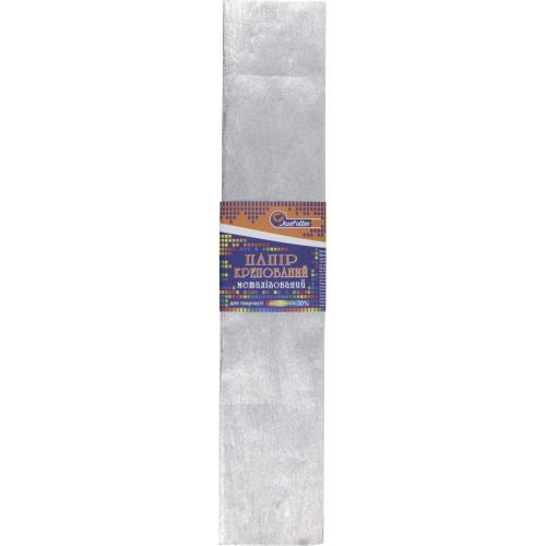 Папір гофра 2мх50 см 30% 60г/м2, 78 г/м2 сріблястий металік (10) (200) KRM-8060