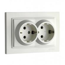 Розетка двойная с заземлением, Mono Electric, Despina белая (5) №102-190004-120