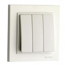 Выключатель трехклавишный Mono Electric, Despina белый (10) №102-190022-114