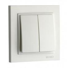 Выключатель двухклавишный Mono Electric, Despina белый №102-190025-102