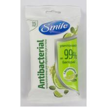 Салфетки влажные Smile 15 шт Antebacterial лайм и мята с витаминами 1953