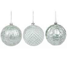 Елочный шар пластиковый 10 см,мятный,3 вида (12) №182-912 /Bonadi/