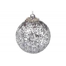 Елочный шар стекло 10 см,блестящий графит,с глитерной присыпкой,декор из страз (6) №118-495 /Bonadi/