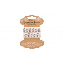 Хлопчатобумажная лента с рисунком Рождественский хоровод 2 м №741318