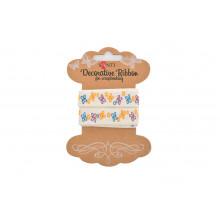 Хлопчатобумажная лента с рисунком Santi Цветные бабочки! 2 м №741390