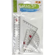 Набір геометричний 1 Вересня 370263 (лінійка 15см, 2 трикутники, транспортир)