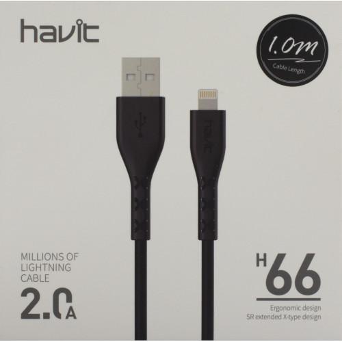 Кабель соединения USB 2,0 lighting 2.0A Havit HV-H66 1 м black