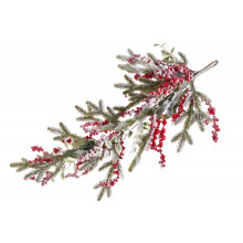 Гілка декоративна з засніженої хвоєю з ягодами і листям 75 см (8) / Bonadi / №734-502