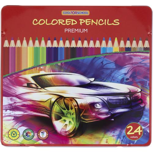 Олівці кольорові 24 кольори  Premium тригранні в металевій коробці (6) CF15179