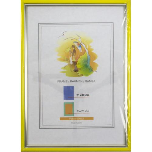 Фоторамка LA 21х30 желтая, серебряная кайма (18) №LA-1-015