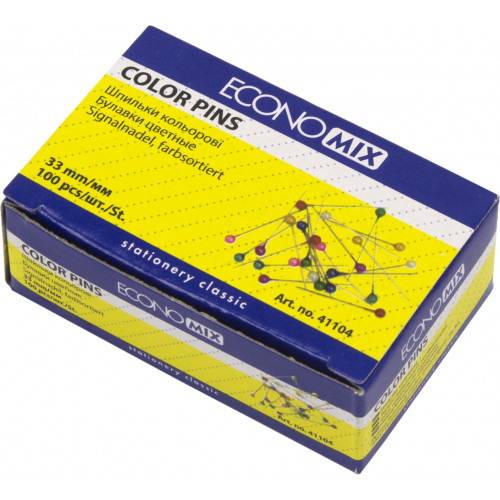 Шпильки офісні Economix 33 мм 100 шт (10) E41104