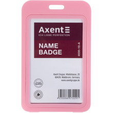 """Бейдж """"Axent"""" вертикальний 50 х84 мм, РР, рожевий (5) №4530-10"""
