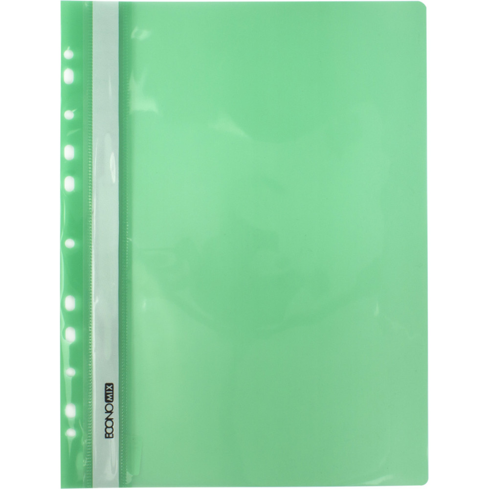 Папка-скоросшиватель Economix E31510-04 А4 с перфорацией глянцевая прозрачный верх зеленая