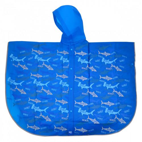 Дождевик-пончо детский YES Акулы со светоотражающим кантом (1) (40) №706945