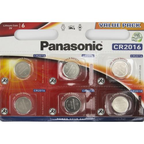 Батарейка Panasonic CR2016/6bl lithium (6) (60)