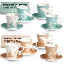 Сервиз чайный керамический 12 предметов 6 чашек и 6 блюдец Бантик S&T (12) №1517-10