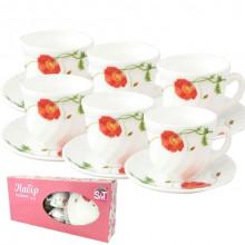 Сервиз чайный стеклокерамический 12 предметов 6 чашек 190 мл и 6 блюдец Красный мак S&T (12) №30055-1067