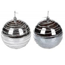 Елочный шар пластиковый 10 см,серебрянаый,2 оттенка,в коробке (12) (48) №898-124 /Bonadi/