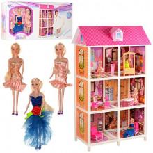 Дом 2 этажа, 3 куклы, 28см, мебель, в коробке 83,5х36х14,5см (6) №66884