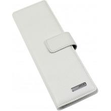Візитниця на 48 візиток Karya на кнопці шкіряна біла 0012-09