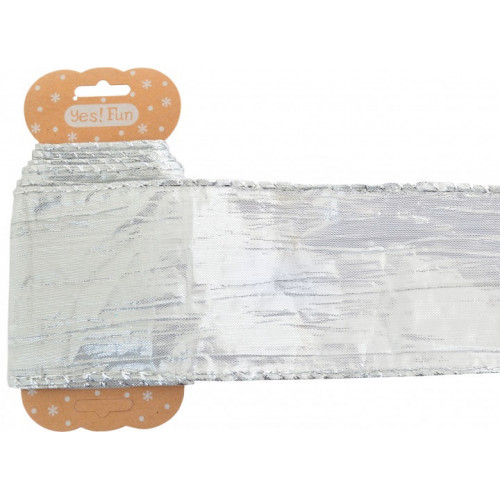 Декоративна стрічка Yes Santi срібна креш, 6смх2м №750325