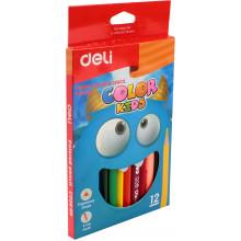 Карандаши цветные 12 цветов Deli Color Kids Jumbo треугольные №EC00600