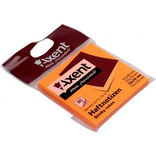 Блок для заміток з липким шаром 75х75мм Axent 80 аркушів яскраво-помаранчевий (1) (120) 2414-15