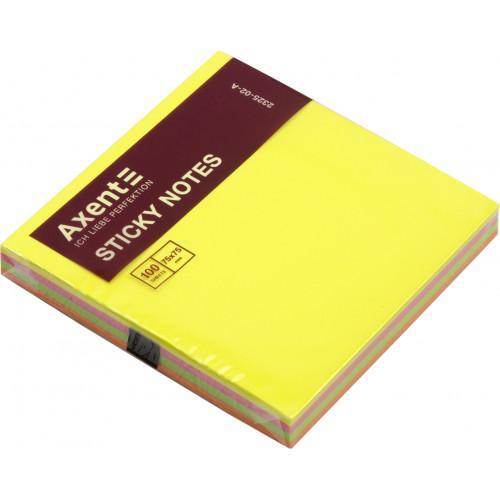 Блок для заміток з липким шаром 75х75мм Axent 100 аркушів неоновий (12) (120) 2325-02