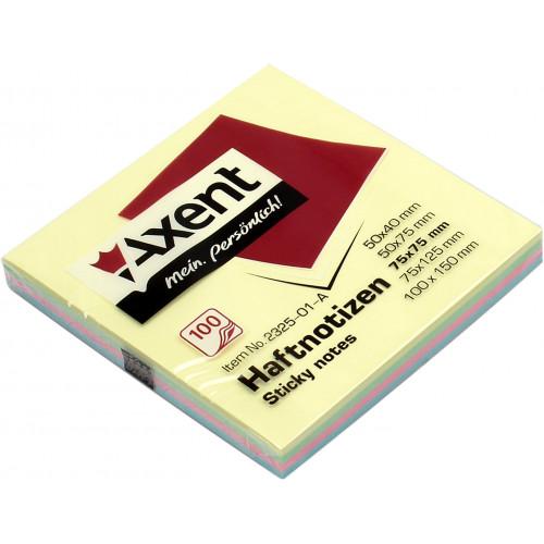 Блок для заміток з липким шаром 75х75 мм 100 аркушів пастель Axent (12) (120) 2325-01