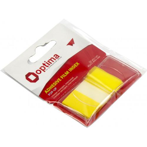 Стікери-закладки пластикові Optima 45х25 мм 50 аркушів жовті (24) O25533-05