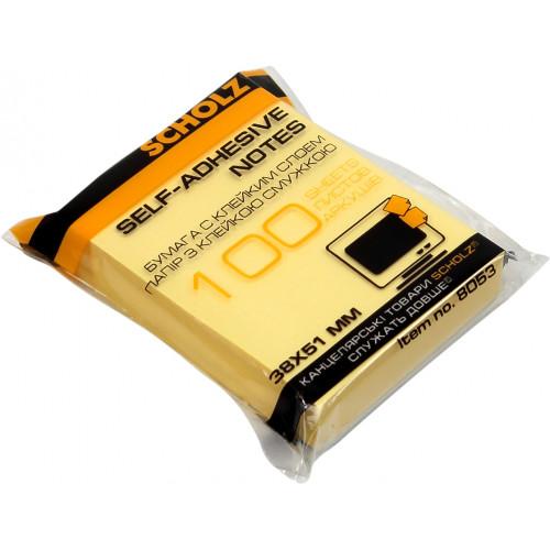 Блок для заміток з липким шаром 38х51мм Sсholz 100 аркушів жовтий (6) (48) 8053Y/02041363