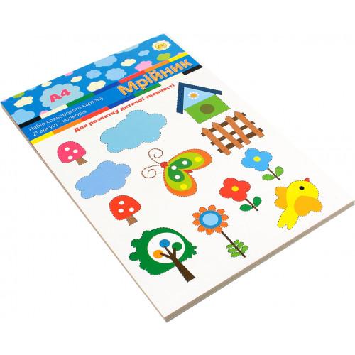 Набір кольорового картону А4 21 аркуш 7 кольорів Тетрада Мрійник