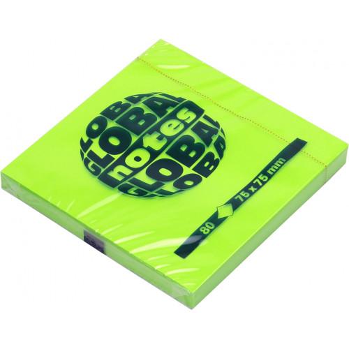 Блок для заміток з липким шаром 75х75мм 80 аркушів neon green GN Global Notes (12) 3654-33