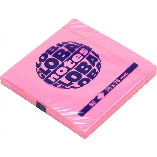 Блок для заміток з липким шаром 75х75мм 80 аркушів neon pink GN Global Notes (12) 3654-32