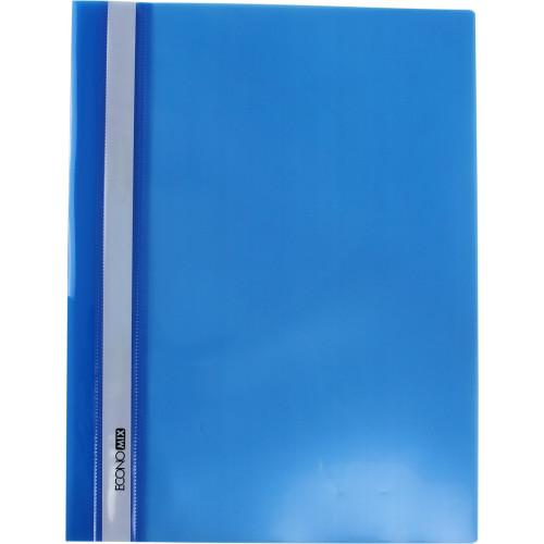 Папка-швидкозшивач Economix А4 без перфорації глянцева прозорий верх синя (10) (300) №E31511-02